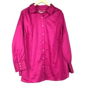 Avenue Bedford Pink Button Shirt Top Blouse 22 24